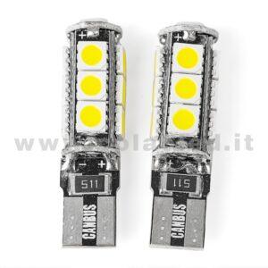 T10 LED 12V CANBUS 2 LAMPADINE MODELLO 13 SMD 5050 BIANCO LATTE NO ERRORE CANBUS W5W