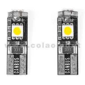 T10 LED 12V CANBUS 2 LAMPADINE MODELLO 3 SMD 5050 BIANCO LATTE NO ERRORE CANBUS W5W