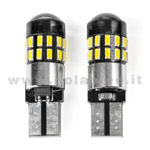 T10 LED 12V CANBUS 2 LAMPADINE MODELLO 30 SMD 4014 BIANCO LATTE LENTICOLARE ANTERIORE NO ERRORE SUPER CANBUS T10