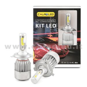 H4 7600LM KIT LED 2 LAMPADE 72W CON DIODI SCELTI KIT LED H4