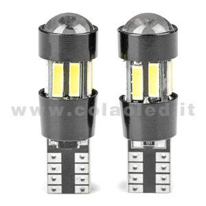 T10 LED 12V 24V CANBUS 2 LAMPADINE MODELLO 10 SMD 7020 BIANCO LATTE LENTICOLARE ANTERIORE NO ERRORE SUPER CANBUS T10