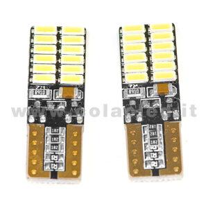 T10 LED 12V 24V CANBUS 2 LAMPADINE MODELLO 24 SMD 4014 BIANCO LATTE NO ERRORE SUPER CANBUS W5W