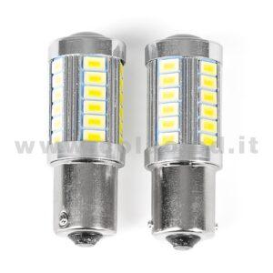 P21W 1 POLO CANBUS 2 LAMPADINE MODELLO 33 SMD 5630 BIANCO LATTE LENTICOLARE ANTERIORE NO ERRORE SUPER CANBUS 1156 BA15S