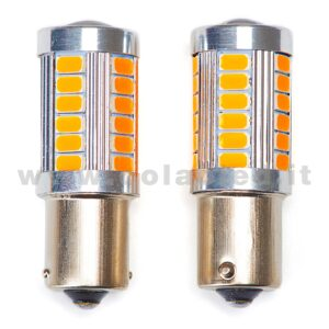 P21W 1 POLO 1156 CANBUS 2 LAMPADINE MODELLO 33 CHIP LED ARANCIONE NO ERRORE SUPER CANBUS BA15S