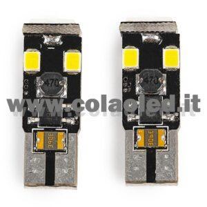 T10 LED 12V CANBUS 2 LAMPADINE MODELLO 6 SMD 3528 BIANCO LATTE NO ERRORE SUPER CANBUS W5W