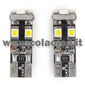 T10 LED 12V CANBUS 2 LAMPADINE MODELLO 8 SMD 3528 BIANCO LATTE NO ERRORE CANBUS W5W