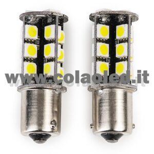 P21W 1 POLO CANBUS 2 LAMPADINE MODELLO 27 SMD 5630 BIANCO LATTE NO ERRORE CANBUS 1156 BA15S
