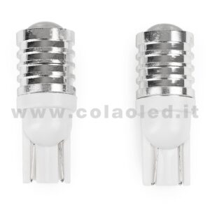 T10 LED 12V 24V CANBUS 2 LAMPADINE MODELLO 1 CHIP LED CREE BIANCO LATTE NO ERRORE CANBUS W5W
