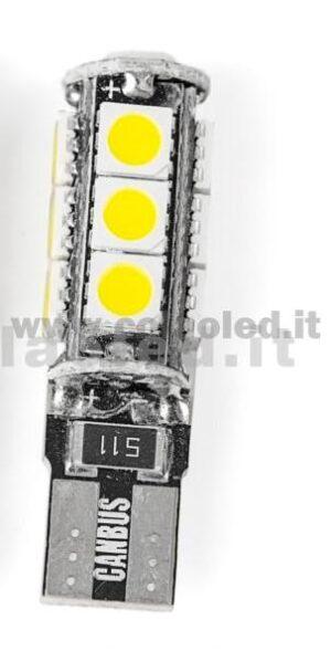 T10 LED 12V CANBUS 1 LAMPADINA MODELLO 9 SMD 5050 BIANCO LATTE NO ERRORE CANBUS W5W